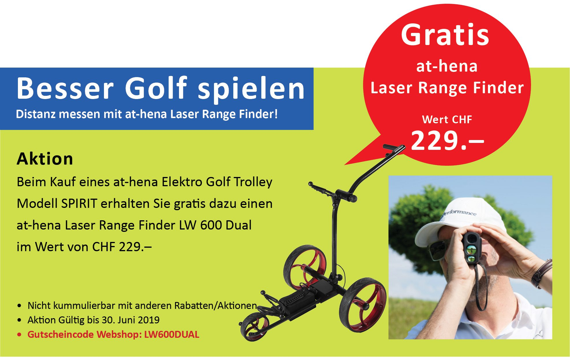 at-hena Eletro Golf Trolley Aktion Laser Range Finder