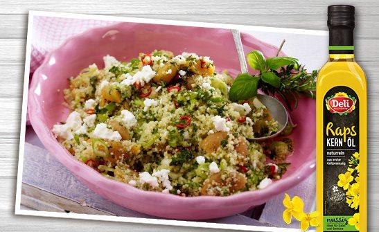 Deli Reform Rapskernöl nussig für fruchtigen Couscous-Salat.